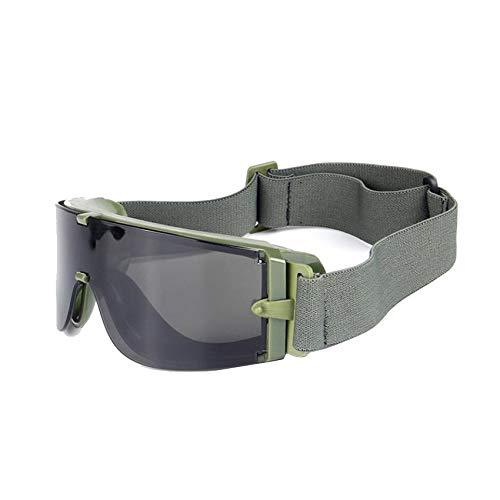 EnzoDate Balística X800 ejército Gafas de Seguridad 3 Kit de Lentes Gafas de Sol Militares visión Nocturna anit-UV Combate Guerra Juego Eyeshields con Estuche (Verde del ejército)