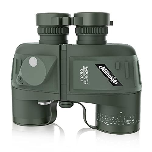 AomekieMarine Military Binoculars forAdults 10x50 Waterproof Binoculars with Rangefinder Compass BAK4 Prism FMC Lens for Birdwatching Hunting Boating (Green)