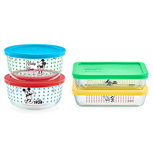 Pyrex Food Storage, Mickey Mouse-The True Original, 8 Piece