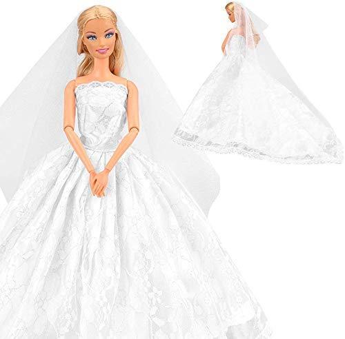 barbie sposa Miunana Vestito Abito da Sposa Stile Principessa per Festa di Sera con Velo per 11.5 Pollici 28 - 30 CM Bambola