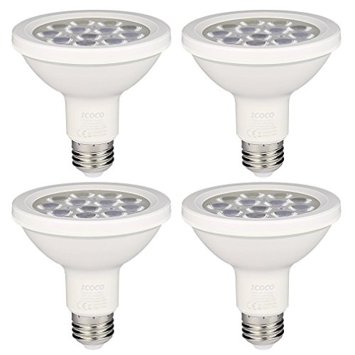 Energiesparlampen,Warmweiß LED Lampen Dimmbar, 12W (ersetzt 75W) , PAR 30 mit E27-Sockel 1000 Lumen 3000K  40° Ausstrahlungswinkel - 4er-Pack