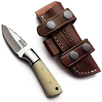GCS Handmade D2 Tool Steel Custom Survival Tactical Hunting Skinning Camping Knife Natural Bone Handle with Brown Leather Right or Left Hand Horizontal Fixed Blade Knife Sheath GCS264