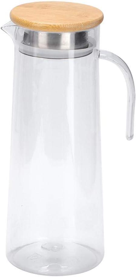 Bamboo Lid caf/é vino agua t/é helado y jugo de frutas jarra de jugo de jarra de agua acr/ílica Jarra de jugo para bebidas fr/ías o calientes Jarra de jugo de 1.2L