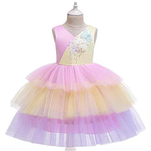 Ropa para nios Pastel a juego con color Vestido de princesa Vestido grande para nios Falda de disfraz Vestido de nia de flores Fiesta de cumpleaos Vestido de baile de graduacin-Rosa_110cm