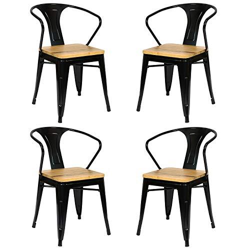 Vaukura Silla Tolix con Brazos (Pack 4) - Silla Industrial Metálica Brillo Asiento de Madera (Negro)