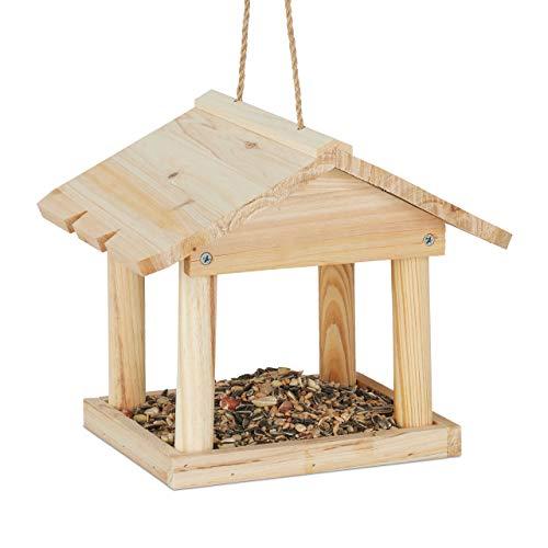 Relaxdays Vogelhaus zum Aufhängen, Vogelhäuschen Garten und Balkon, unbehandeltes Holz, kleines Vogelfutterhaus, natur