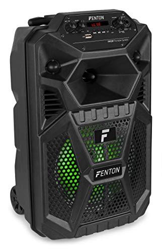 """Fenton FPC8T Altavoz Portátil Party Recargable 8"""" 50W con Trolley, batería, Bluetooth, Efectos de luz LED y micrófono"""