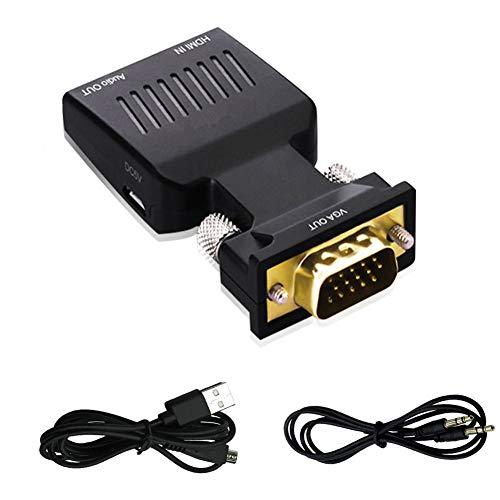 Kentop adaptador de HDMI a VGA con audio HDMI a VGA TV Convertidor para HDTV, ordenador, con cable de audio y micro cable usb, Plug and Play