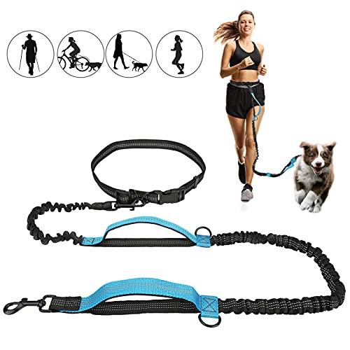 Achort Handsfree Laisse réglable pour chien Laisse de course pour chien Laisse pour chien Laisse de taille Freestyle Laisse de chien Coutures réfléchissantes Pour chiens jusqu'à 110 lbs