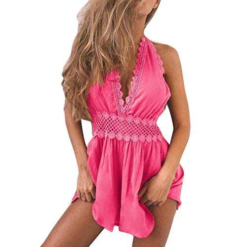 HaiDean Dames-zomeroverall, mouwloos, bodysuit, korte los, modern, speelpak, eendelig, feestdag, beachwear, clubwear, zonnejurk