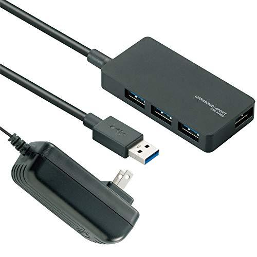 エレコム USB3.0 ハブ 4ポート 1m ACアダプタ付 セルフ/バス両対応 MacBook / Surface Pro / Chromebook他 ノートPC Nintendo Switch対応 ブラック U3H-A408SBK