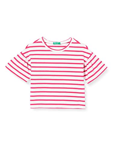 UNITED COLORS OF BENETTON T- Shirt Pull sans Manche, Rose (Bianco/Fucsia 906), 80/86 (Taille Fabricant: 1Y) Bébé Fille