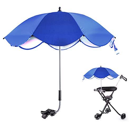 WNSC Parapluie réglable de Parasol de Landau, Parapluie portatif de Parasol, Anti-UV avec Boucle Amovible pour Les vélos(Blue Umbrella)