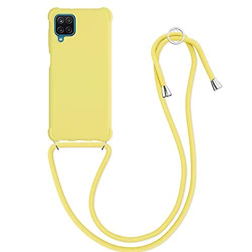 kwmobile Funda con Cuerda Compatible con Samsung Galaxy A12 - Carcasa de TPU Mate con Colgante en Amarillo limón