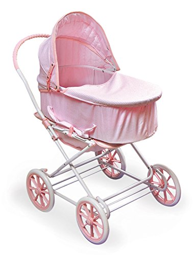 Badger Basket 3-in-1 Doll Pram, Carrier, and Stroller (fits American Girl Dolls), Pink Gingham
