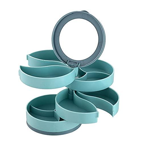 Caja de almacenamiento giratoria de múltiples capas de joyería pendientes caja de almacenamiento pulsera collar cubierta caja de polvo para el hogar joyería accesorios herramienta-verde
