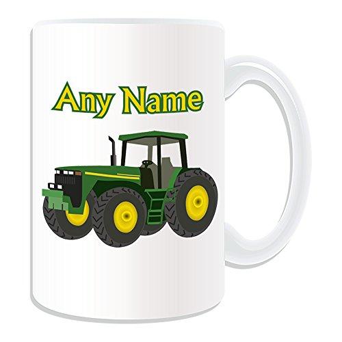 UNIGIFT gepersonaliseerd geschenk - grote groene trekker mok (transport ontwerp thema, wit) - elke naam/bericht op uw unieke - bestuurder zwaar voertuig auto vrachtwagen boerderij HGV boer