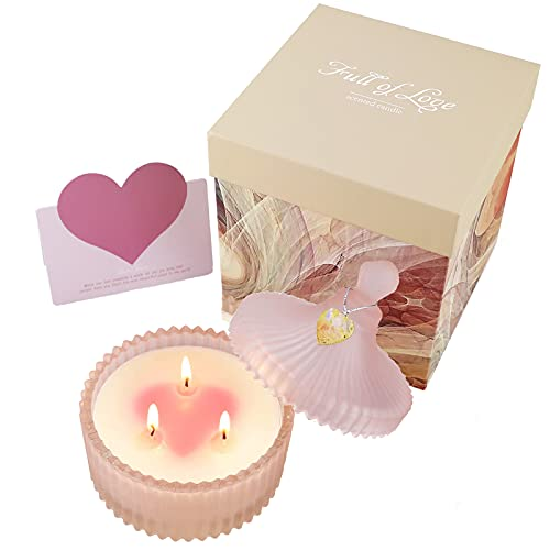 Yinuo Candle Candele Profumate Fragranza alla Rosa Regalo per Donna Cera di Soia, Alleviare Lo Stress e Aromaterapia Adatto per Compleanno,San Valentino, Festa, Festival