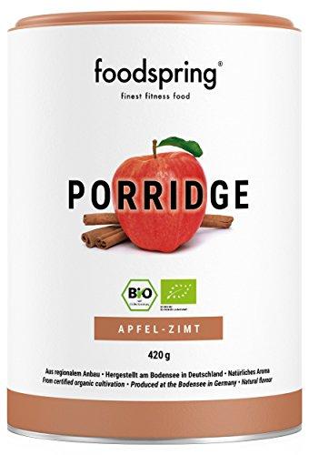 foodspring Bio Protein Porridge, Apfel-Zimt, 420g, Frühstücksbrei, Hergestellt in Deutschland mit Bio Zutaten vom Bodensee