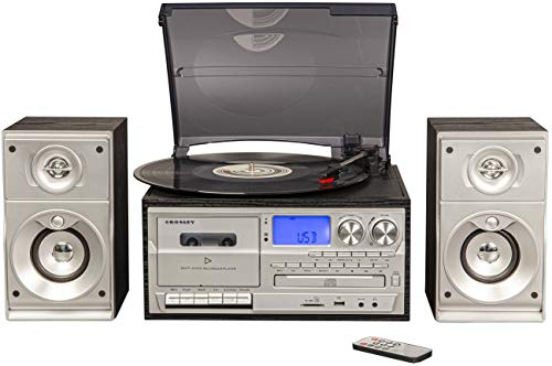 Crosley Eclipse 3-Speed Turntable with Bluetooth, AM/FM Radio, CD/Cassette Player, USB, SD Card Reader, Aux-in