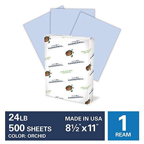 Hammermill Orchid Colored 24lb Copy Paper, 8.5x11, 1 Ream, 500 Total Sheets, Made in USA, Sustainably Sourced From American Family Tree Farms, Acid Free, Pastel Printer Paper, 103780R