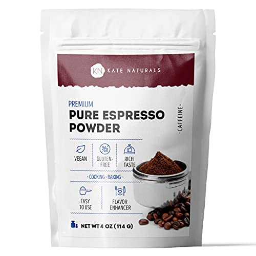Premium Pure Espresso Powder by Kate Naturals. 100% Natural & Vegan. Premium Gluten-Free Freshly Roasted & Powdered Espresso. Ideal for Cooking & Baking. Resealable Bag. 4 oz.