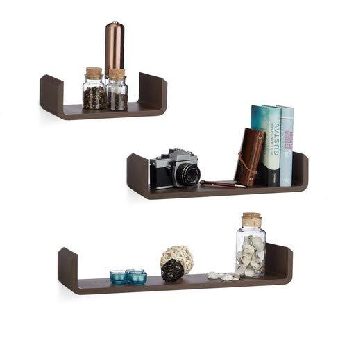 Relaxdays Rekplank, set van 3, hangplank, wandplank, hout, kruidenrek, wandplank, U-vorm, MDF, bruin