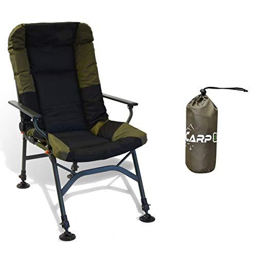 CarpOn zusammenklappbarer Stuhl extra Heigh Camping Einstellbar Angelstuhl Campingstuhl Carp Fishing Chair für Karpfenangeln 150kg (Halcyon Standard + Schutzhülle)