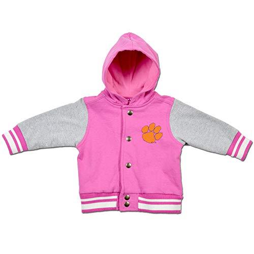 College Kids Clemson Tigers Infant Baby Pink Varsity Letterman Jacket (12 Months)