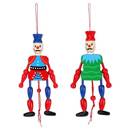 TOYANDONA Holz König Puppe Holz Marionette Märchen Kasperletheater Kasperlepuppen Holzspielzeug Klein Geschichte Erzählen Puppentheater Holzfiguren 2pcs Zufällige Farbe