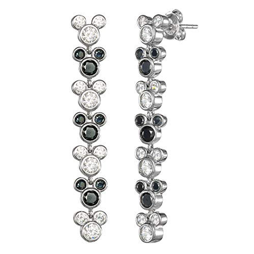 Disney Mickey Mouse Sterling Silver Black Spinel and White Cubic Zirconia Dangle Earrings, 1.5