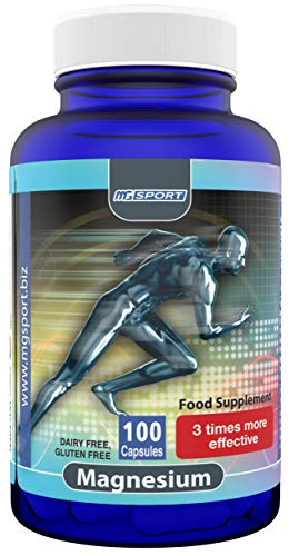 High Absorption Magnesium for Leg Cramps and Sore Muscles, Eases Restless Leg Syndrome (RLS), with Vitamin B6, D and E, 380mg Magnesium Oxide Monohydrate, 100 Servings, Gluten Free (100)