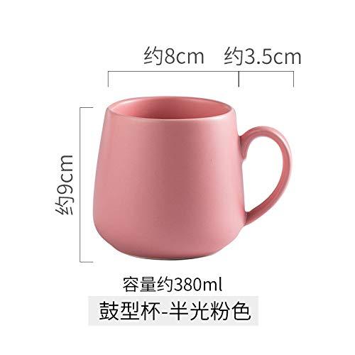 Heliansheng Taza de Cubo esmerilada para el hogar Creativa, Taza de café de Color Puro, Taza de Agua con Leche, Taza de cerámica con Marca -Pink-400ml-G005