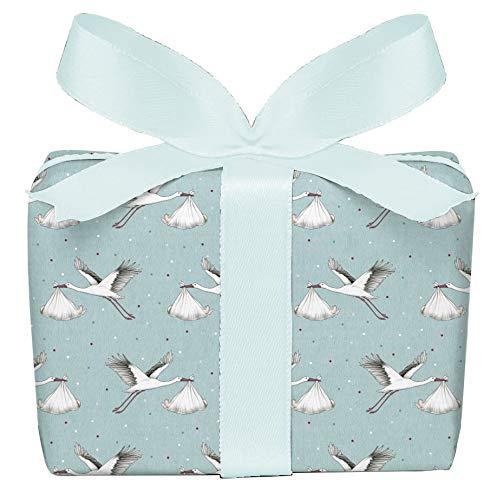 5er Set 5 Bögen Geschenkpapier zur Geburt Storch Baby mint, Verpackung Geschenke zur Geburt Taufe Glückwunsch, gedruckt auf PEFC zertifiziertem Papier, 50 x 70 cm