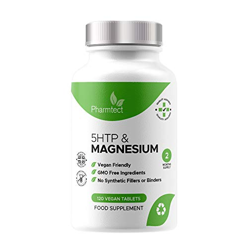5HTP Natural Sleep Aid Supplement - Mood Lifting Pills & Healthy Mood Balance - High Strength 400mg Griffonia Seed Extract with Added Magnesium - 120 Vegan Tablets Made in The U.K. by Pharmtect