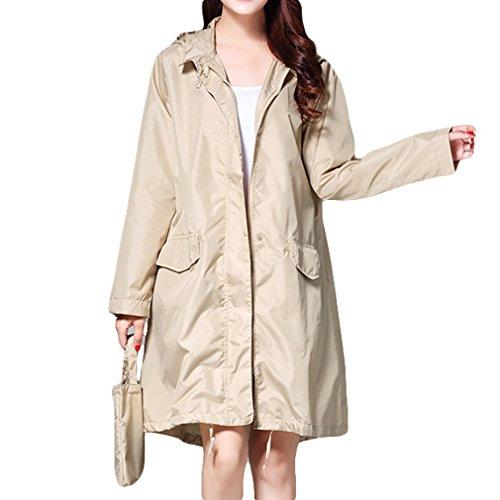 Mxssi Mode Damen Regenmantel Atmungsaktive Lange Regenmäntel Tragbare Wasserabweisend Regenmantel Frauen Khaki M