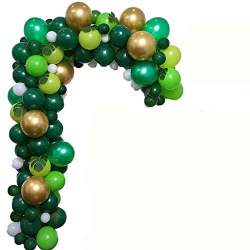 FSJD Kit de Arco de Globo Verde Kit de decoración de Fiesta temática de la Jungla con Globos Blancos, Dorados, Verdes Que Les encantarán a niños, niñas y Adultos, Verde, 106 Globos