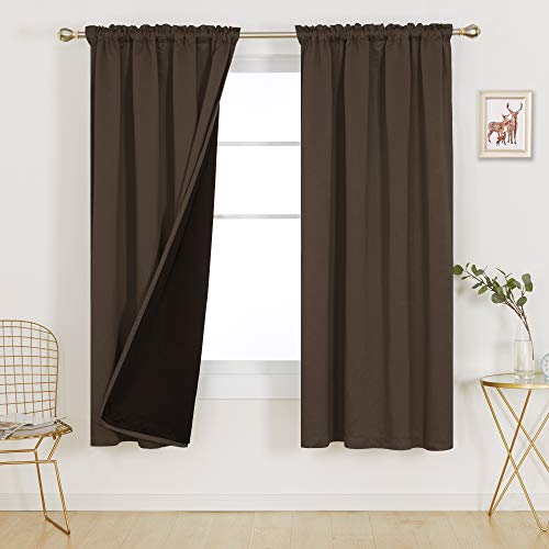 Deconovo Rod Pocket Total Blackout Kitchen Curtain 100% Full Light Blocking Thermal Insulated Sound Reducing Curtain Panels for Home Gym Theater Room, Set of 2, Each 52x72 in, Brown