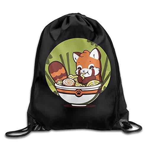 Lsjuee Cute Red Panda Eating Ramen Print Drawstring Backpack Rucksack Shoulder Bags Gym Bag Sport Bag