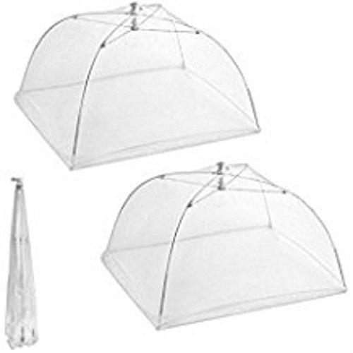 QILENE 1 x quadratische, faltbare Gaze-Abdeckung für Lebensmittel, Fliegenschutz, Mückenschutz, Tisch-Mahlzeiten-Abdeckung (weiß)