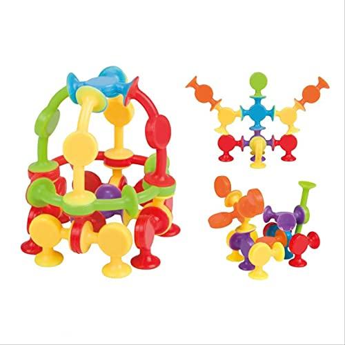 XRZH 30 Uds, Juguetes para El Cerebro Gordo, Juguetes con Ventosa para Niños, Bloques De Construcción De Silicona DIY, Juguetes Ensamblados, Juguete De Construcción, Multicolor