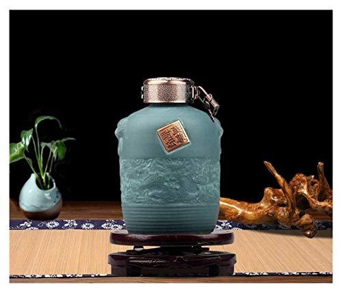 DWhui Sake Bottle Wine Pot Set Flagon Ceramics Creativo y Exquisito Porcelana Tradicional Chino Chino Adornos Decorativos Barril Cerámica Jar Hogar Jarras (Color : D)