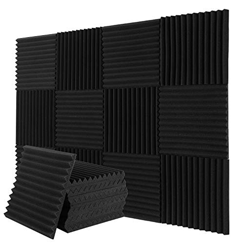 Donner 12-Pack Acoustic Foam Panels Wedges, Fireproof Soundproofing Foam Noise Cancelling Foam for Studios, Recording Studios, Offices, Home Studios 1'' x 12'' x 12''