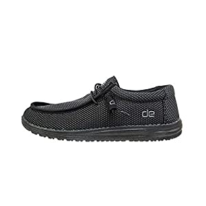 Hey Dude Men's Wally L Sox Black Size 9 | Men's Shoes | Men's Lace Up Loafers | Comfortable & Light-Weight