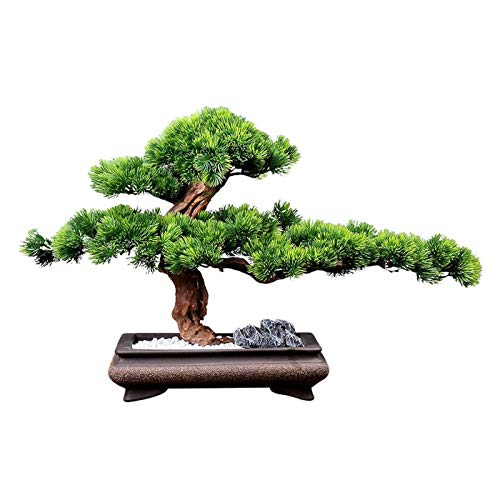 YCSX Artificial Bonsai Fake Plants Luxury Artificial Beautiful Pine Tree Artificial Bonsai Tree Rectangular Ceramic Flower Pot Stylish Replica Indoor Tree/Plant Faux Green Leaves Fake Plant