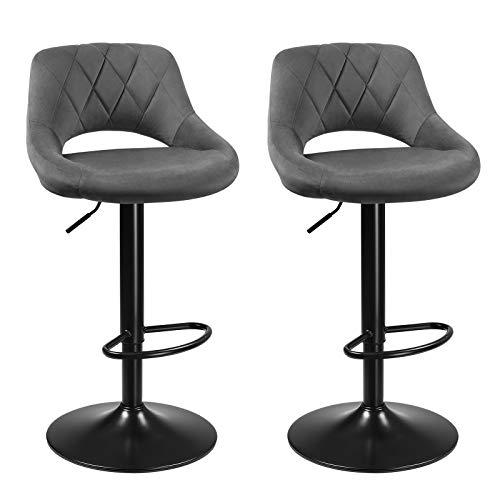 SONGMICS Barhocker, 2er Set Barstühle, Küchenstühle mit stabilem Metallgestell, Stühle mit Samtbezug, Fußstütze, Sitzhöhe verstellbar, einfache Montage, Retro, dunkelgrau LJB072G01