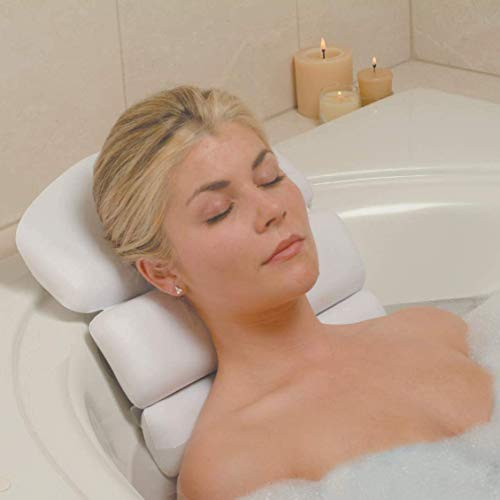 Luxury Spa Bath Pillow 3–Panel Bathtub Cushion for Head Neck and Back Support – Soft and Large (14.5 x 22) Body Bath Pillow with Powerful Suction Cups for Nonslip Grip Fits Any Size Tub, Jacuzzi, Spas