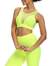 Vrouwen Sport BH Workout Crop top Yoga Sport Solid Honingraat Bubble Bras Gewatteerde Racerback Tank Top, Fluorescerend Geel, M