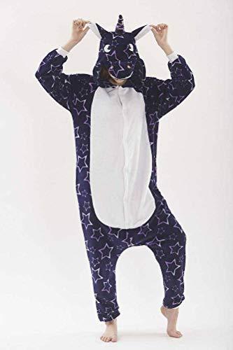 Unisex pyjama volwassen dier onesies herfst en winter flanel carton dier eendelige pyjama paard eenhoorn prestaties kleding, JUSTTIME M Zoals getoond
