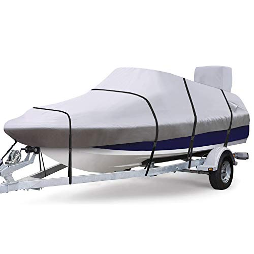 """RVMasking Waterproof & Ripstop 900D Trailerable Full Size Boat Cover Gray for 17""""-19"""" V-Hull Runabouts Outboards and I/O Bass Boats, with Motor Cover"""